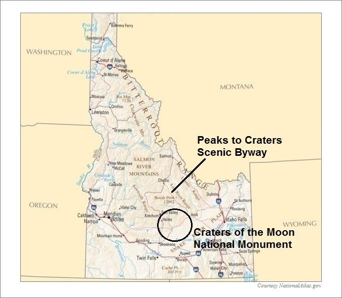 Idaho Map, Mesa Falls Scenic Byway