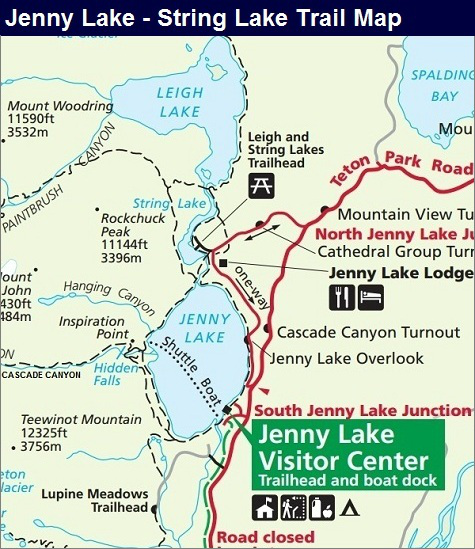 String Lake Map, Grand Teton National Park Map