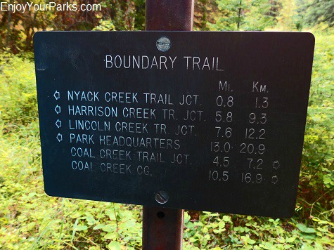 Boundary Trail sign, Loneman Lookout hike, Glacier National Park