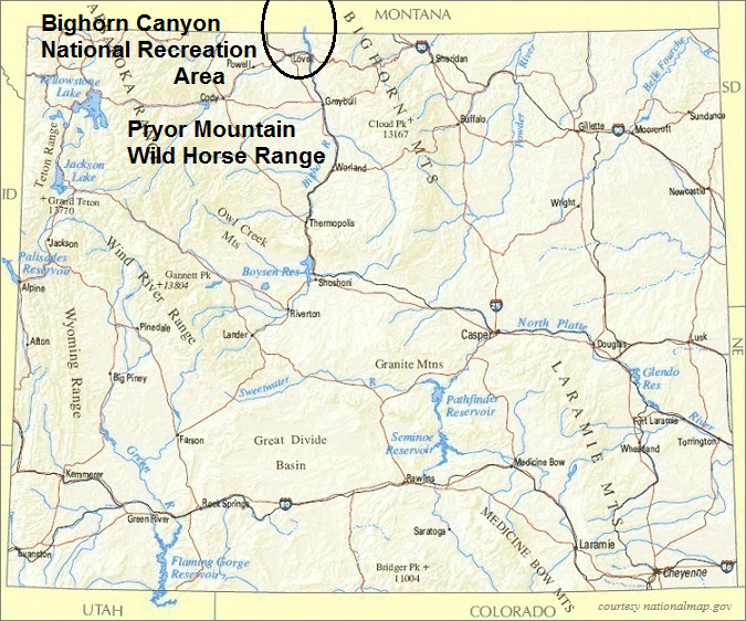 Wyoming Map, Bighorn Canyon National Recreation Area
