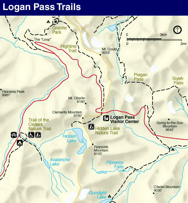 Glacier Park Map, Logan Pass Area