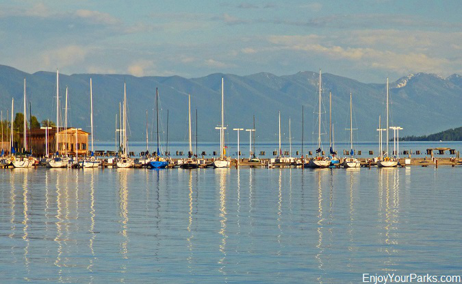 Sailboats on Flathead Lake Montana