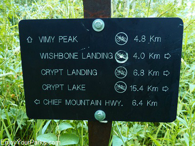 Vimy Peak Trail sign, Waterton Lakes National Park