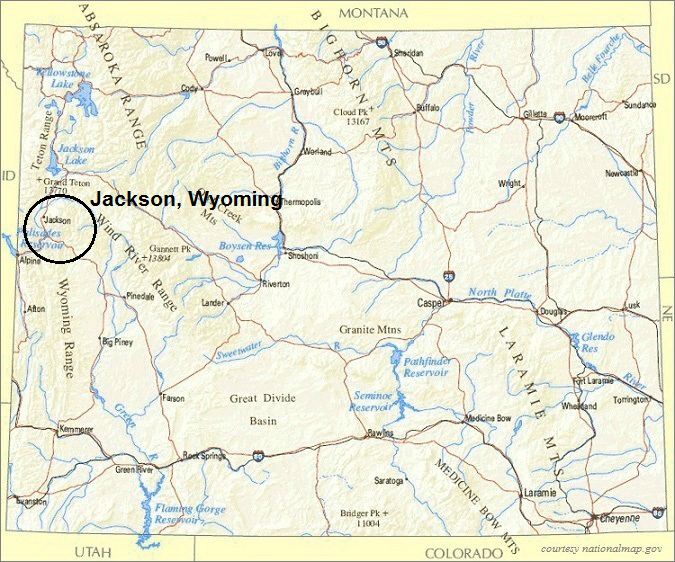 Wyoming Map, Jackson Wyoming