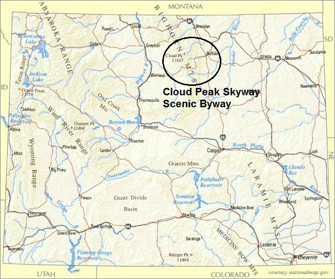 Wyoming Map, Cloud Peak Skyway Scenic Byway