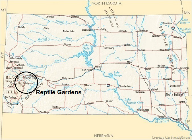 South Dakota Map- Reptile Gardens