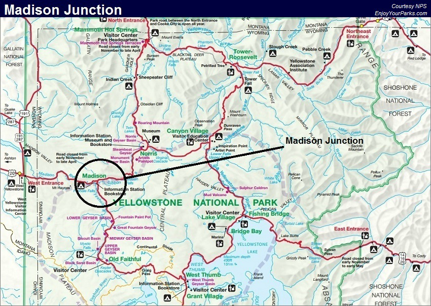 Madison Junction Map, Yellowstone National Park Map