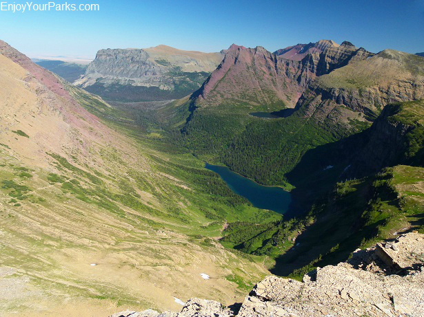 Atlantic Creek Valley, as viewed from the summit of Triple Divide Peak in Glacier National Park