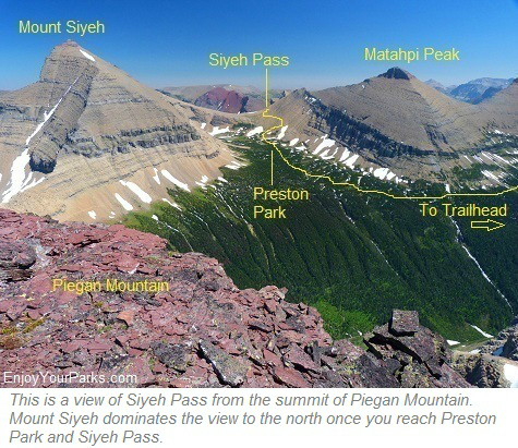 View of Siyeh Pass from the summit of Piegan Mountain, Glacier National Park