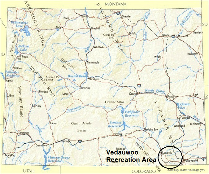 Wyoming Map, Vedauwoo Recreation Area