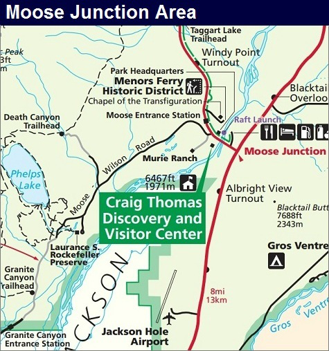 Moose Junction Map, Grand Teton National Park Map