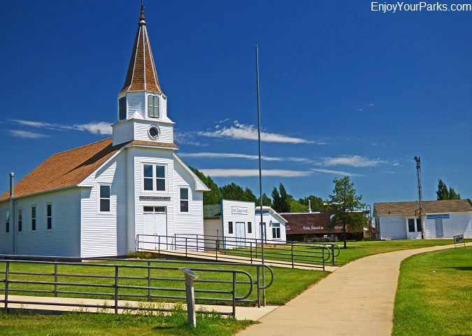 Pioneer church at the Prairie Outpost Park in Dickinson Museum Center.