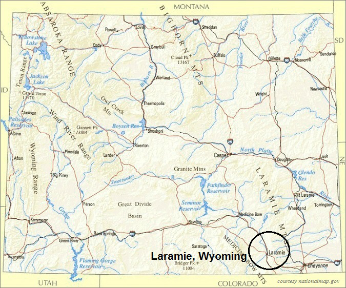 Wyoming Map, Laramie Area