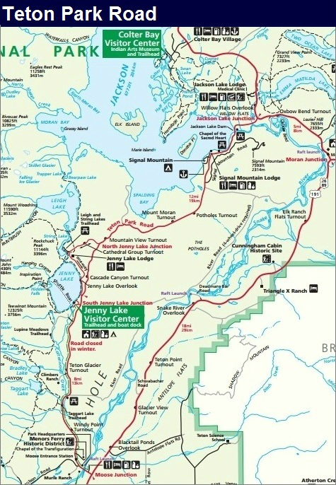 Teton Park Road Map, Grand Teton National Park Map