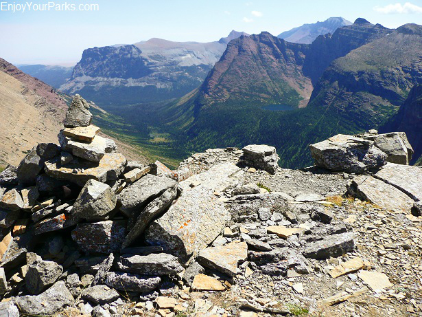 Triple Divide Peak summit cairn, Glacier National Park