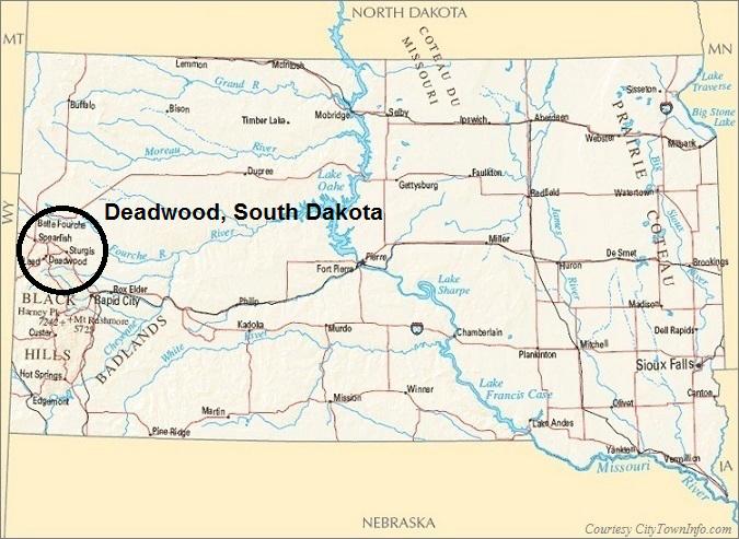 South Dakota Map- Deadwood South Dakota