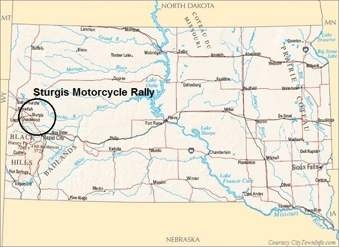South Dakota Map- Sturgis Motorcycle Rally