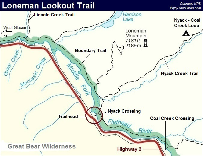 Loneman Lookout Trail Map, Boundary Trail Map, Glacier National Park Map