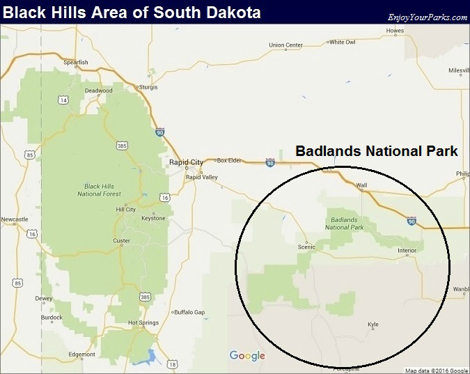 Black Hills South Dakota Map- Badlands National Park