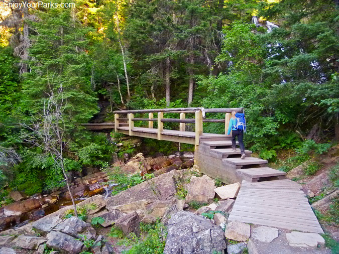 Lower Bertha Falls bridge, Bertha Lake Trail, Waterton Lake National Park