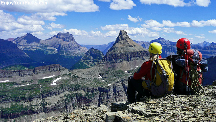 David and Shannon on the summit of Bearhat Mountain, Glacier National Park