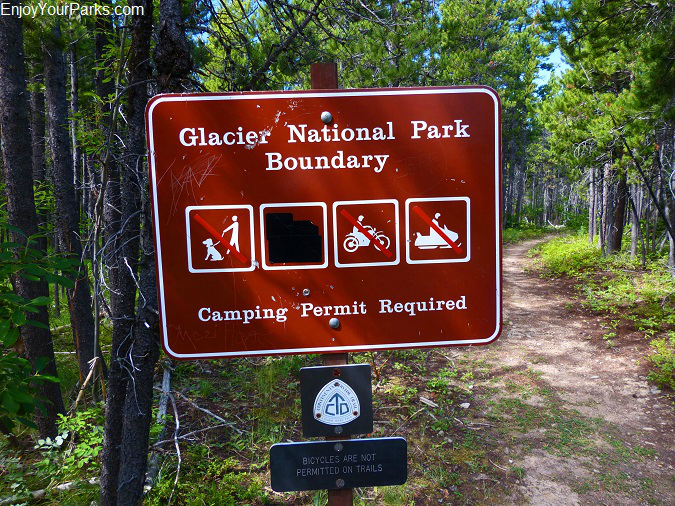 Autumn Creek Trail, Glacier National Park Boundary sign, Glacier National Park
