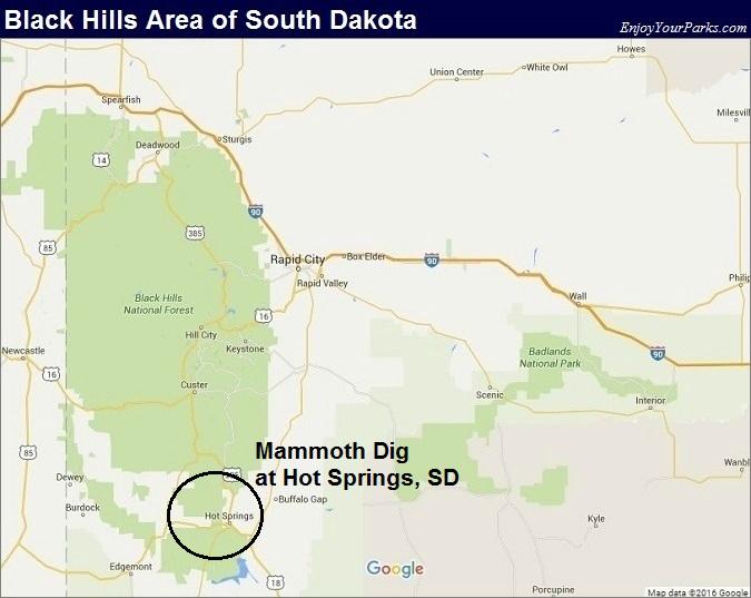 Black Hills South Dakota Map- Mammoth Dig at Hot Springs, South Dakota