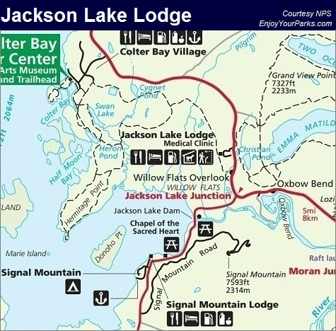 Jackson Lake Lodge Map, Grand Teton National Park Map