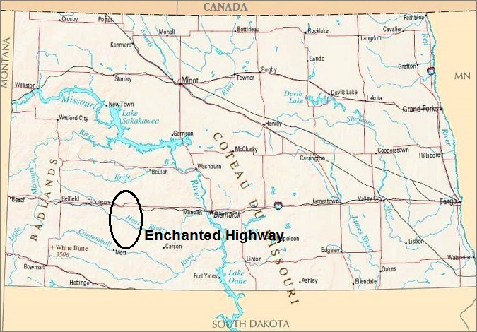 North Dakota Map, Enchanted Highway