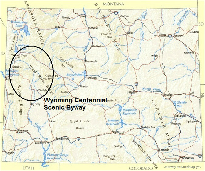 Wyoming Map, Wyoming Centennial Scenic Byway