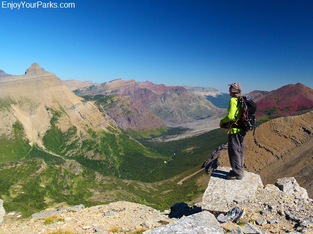 View of Hudson Bay Creek Valley from the summit of Triple Divide Peak, Glacier National Park