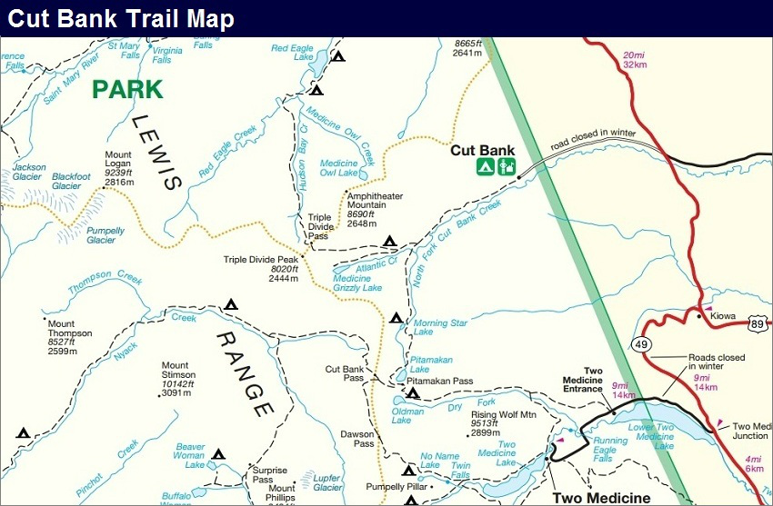 Cutbank Trail Map, Glacier National Park Map