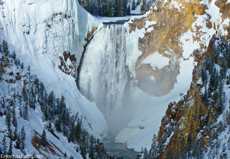 Lower Falls, Winter In Yellowstone Park, Yellowstone National Park