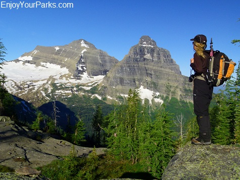 View of Kintla Peak and Kinnerly Peak from the west side of Boulder Pass, Glacier National Park