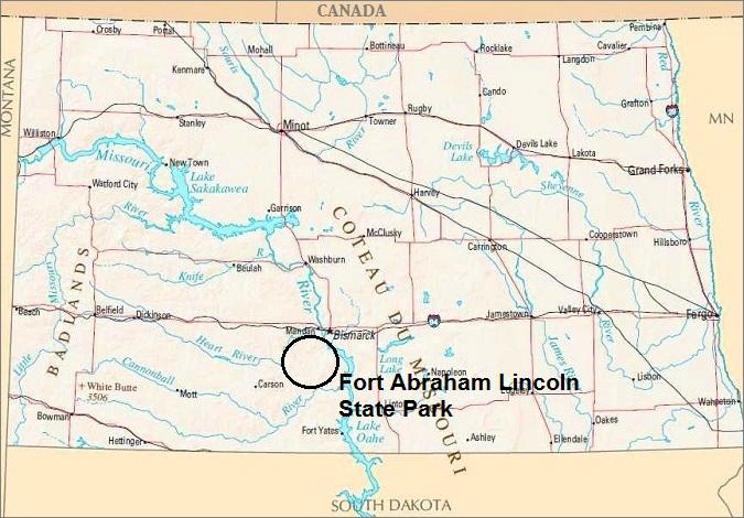 North Dakota Map, Fort Abraham Lincoln State Park