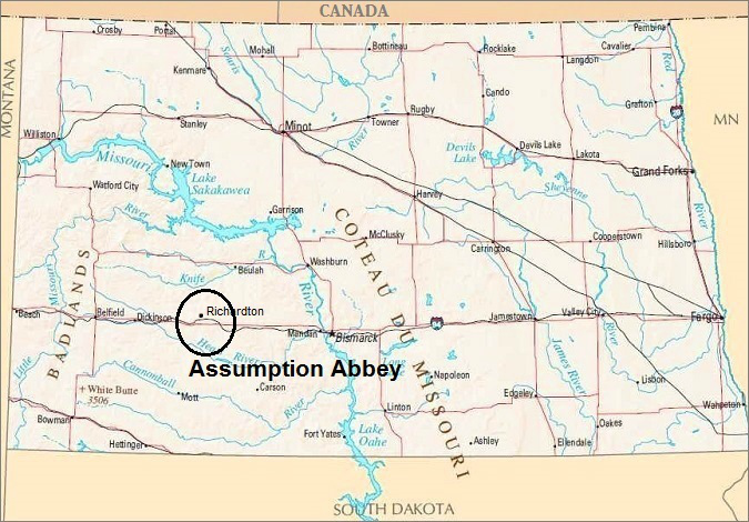 North Dakota Map, Assumption Abbey