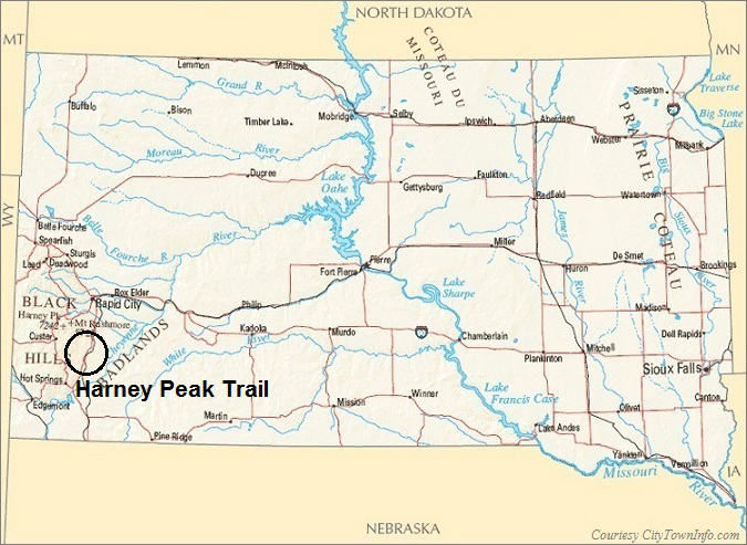 South Dakota Map- Harney Peak Trail
