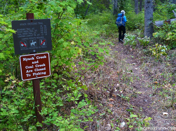 Nyack Crossing Trail Sign, Loneman Lookout hike, Glacier National Park