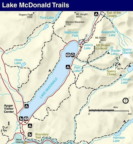 Lake McDonald Trail Map, Glacier National Park