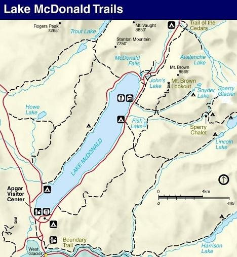 Sperry Glacier Trail Map, Glacier National Park