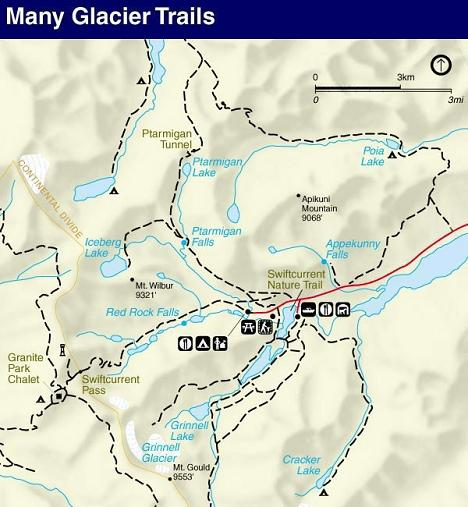 Swiftcurrent Pass Trail Map, Swiftcurrent Pass Trail, Glacier National Park