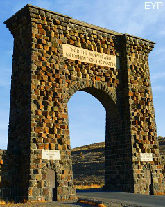 Roosevelt Arch at the North Entrance of Yellowstone National Park in Gardiner Montana