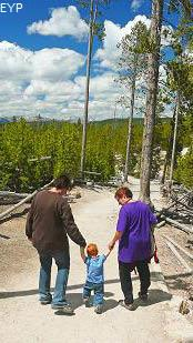 Our great nephew taking his first steps, Norris Geyser Basin, Yellowstone National Park