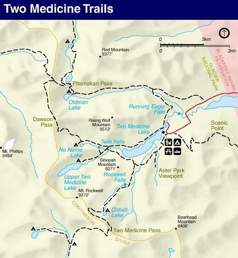 Dawson  Pass Trail Map, Two Medicine Area, Glacier National Park
