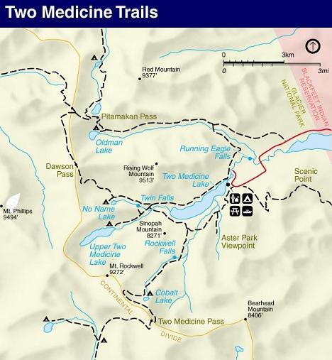 Upper Two Medicine Lake Trail Map, Glacier National Park